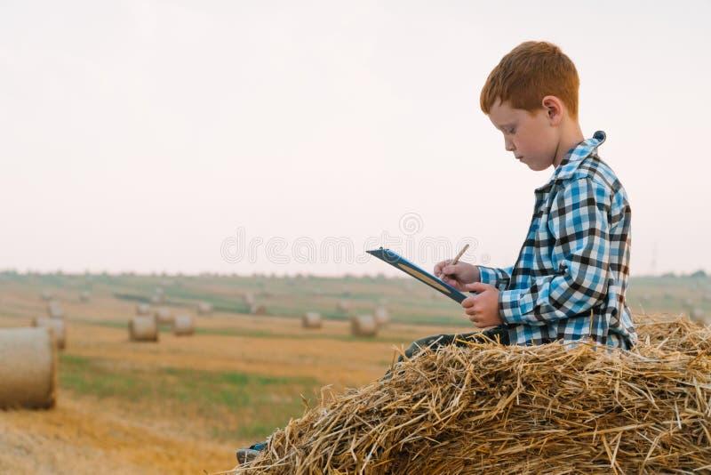 Mały rolnik na słomkowym blaszku trzyma tabletkę z literą i długopisem w rękach na tle sianokształtnych obrazy stock