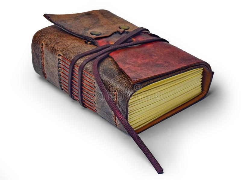 Mały rzemienny czasopismo z kością słoniową tonował papier i pokrywę od dwa różnych skóra kolorów zdjęcia royalty free
