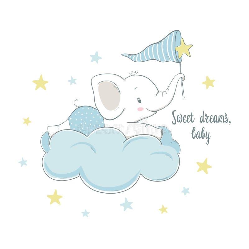 Mały słoń na chmurze Kreskówki wektorowa ilustracja dla ki ilustracja wektor