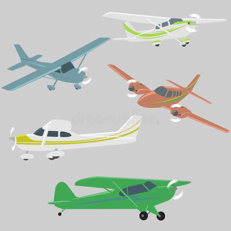 Mały samolotu wektoru ilustraci set Pojedynczego silnika napędzający pasażerski samolot ilustracja wektor