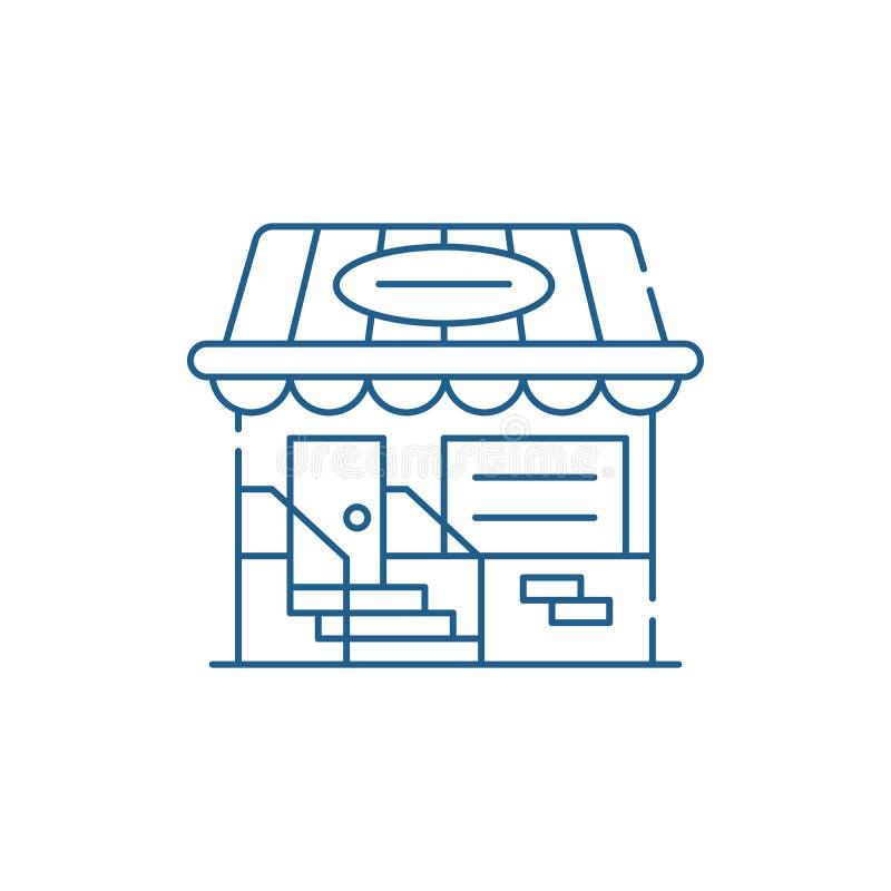 Mały sklep linii ikony pojęcie Mały sklepowy płaski wektorowy symbol, znak, kontur ilustracja ilustracji