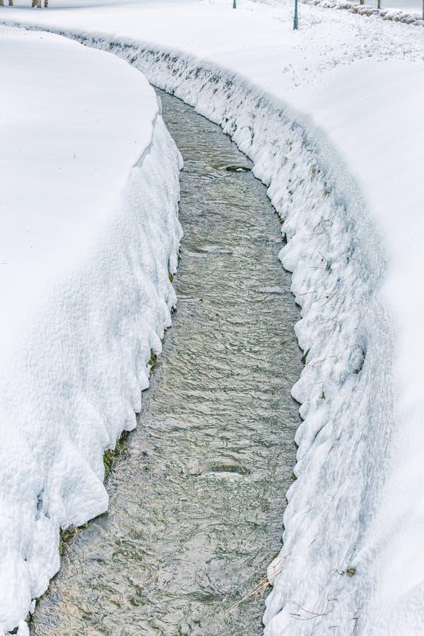 Mały strumień w śniegu obrazy stock