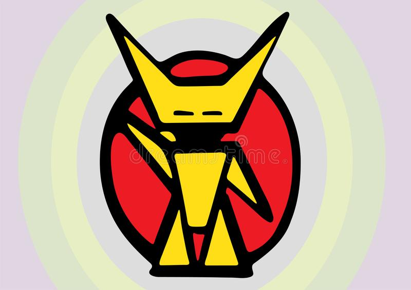 Mały Szczęśliwy Żółty robota Salutować ilustracja wektor