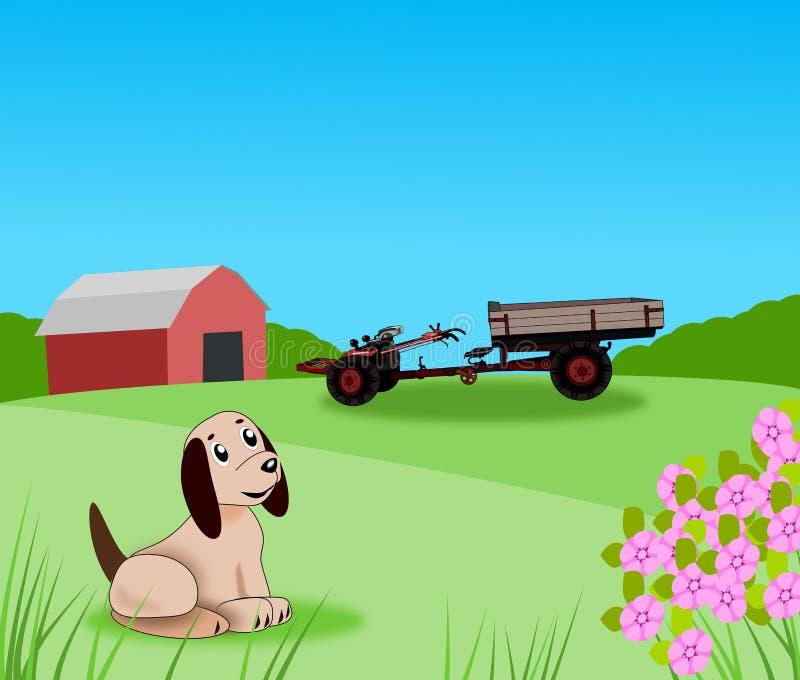 Mały szczeniak na gospodarstwie rolnym. ilustracja wektor