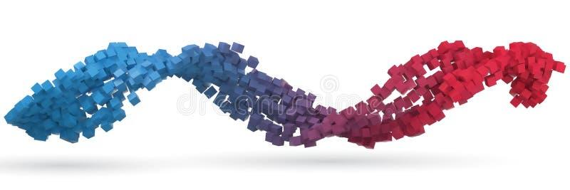 Mały sześcianu przepływ 3d stylu wektoru ilustracja ilustracja wektor
