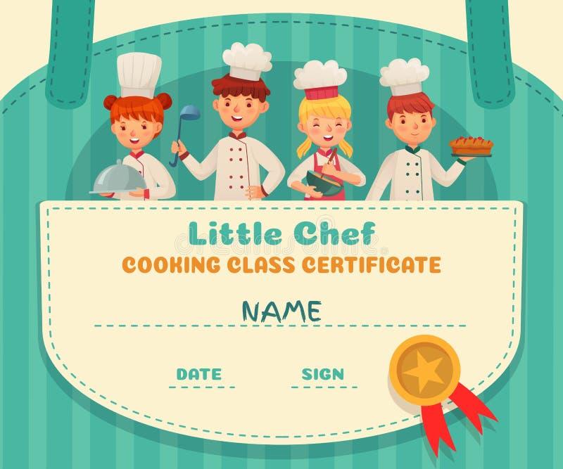 Mały szefa kuchni świadectwo Kulinarnej klasy szefów kuchni dyplom, kulinarna jedzenie szkoły lekcja, i żartujemy kucharzów obram ilustracji