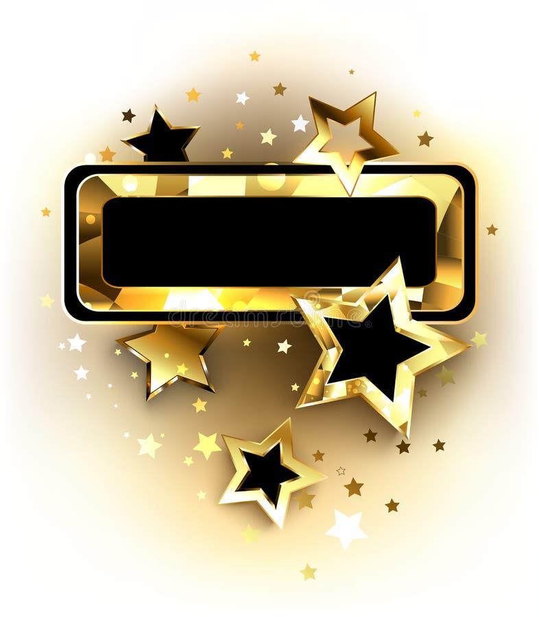 Mały sztandar z złotymi gwiazdami ilustracja wektor