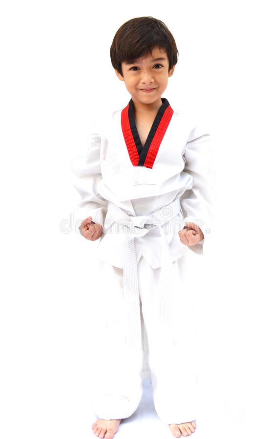 Mały tae kwon robi chłopiec sztuce samoobrony zdjęcie royalty free