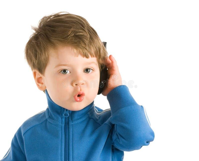 mały telefon z chłopcem obraz royalty free