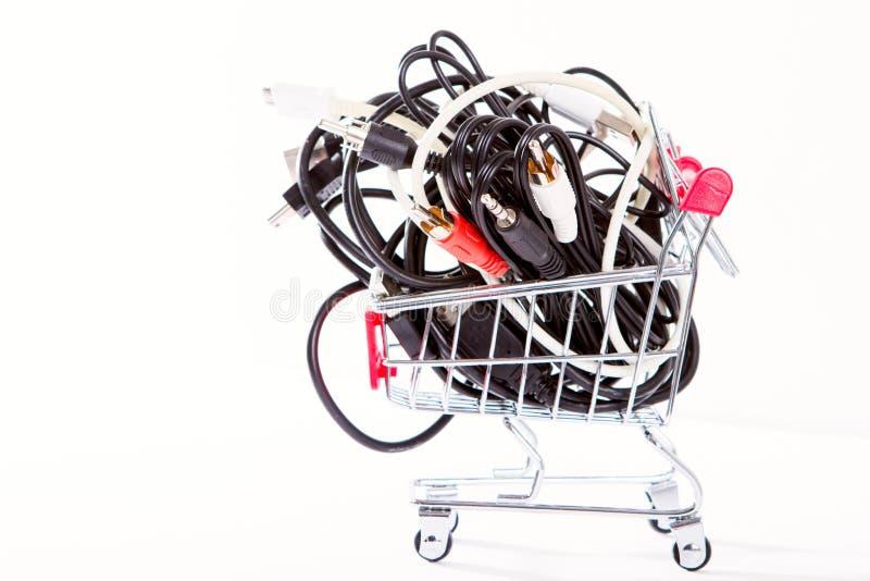 Mały wózek na zakupy wypełniający fotografia stock