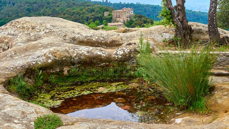 Mały watter staw przy wierzchołkiem góra w Savassona lesie oprócz ` Ermita De Sant Feliuet `, właśnie zdjęcia stock