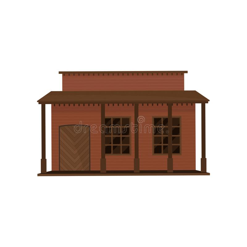 Mały westernu dom z drewnianym drzwi i ganeczkiem Stary drewniany budynek Architektura stary zachodni miasteczko Płaski wektorowy royalty ilustracja