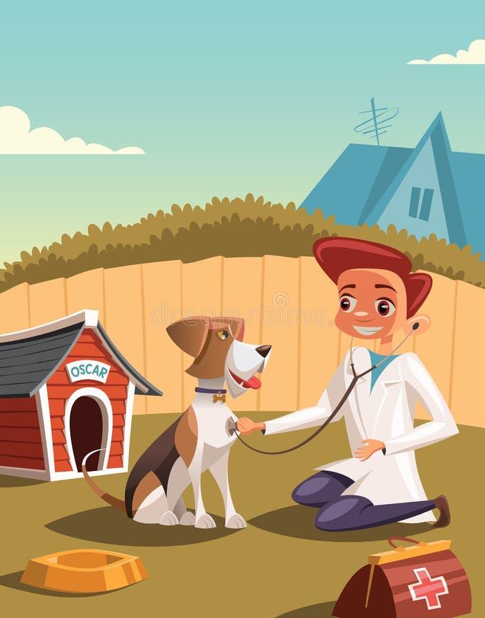 Mały weterynarz traktuje psa royalty ilustracja