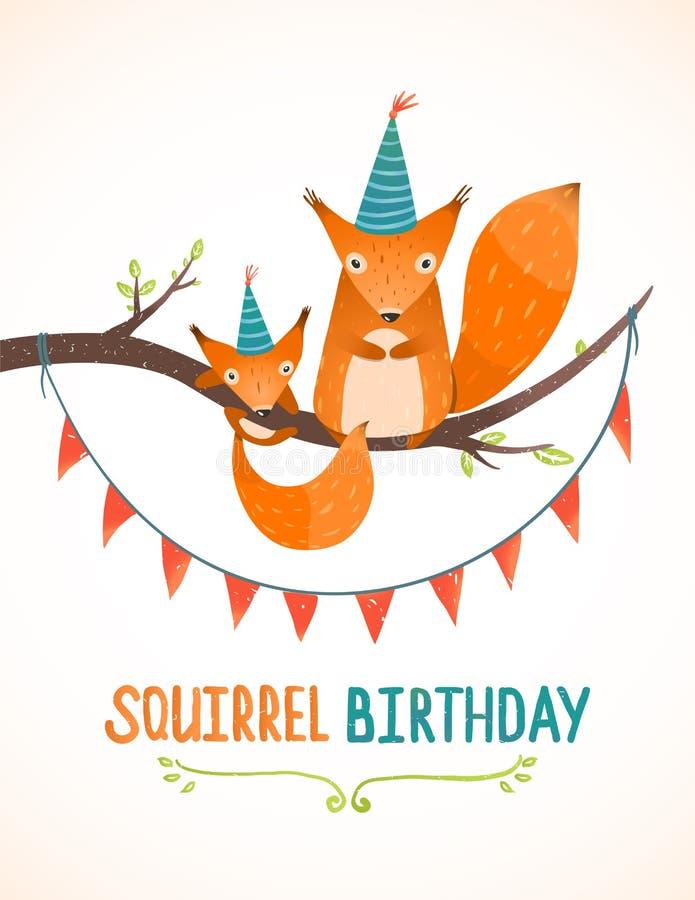 Mały wiewiórki i matki urodziny kartka z pozdrowieniami ilustracja wektor