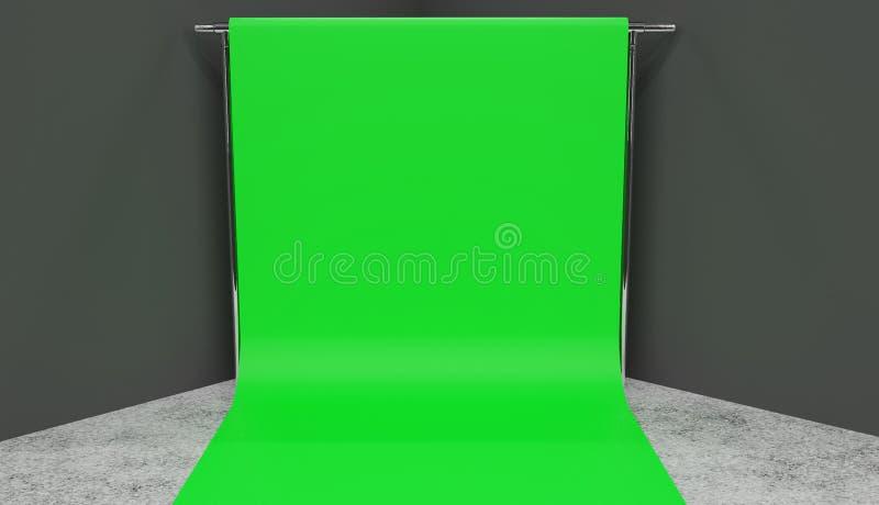 Mały zieleń ekranu ustawianie odpłaca się w kącie studio z popielatymi ścianami ilustracja wektor