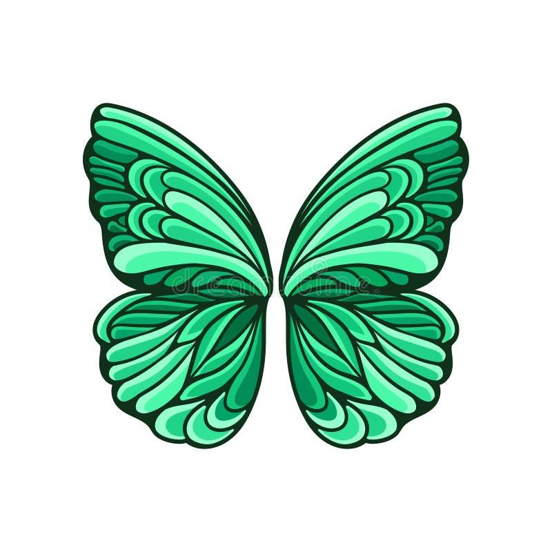 Mały zielony motyl uskrzydla z pięknym wzoru i czerni konturem Płaski wektorowy element dla pocztówki lub plakata ilustracja wektor