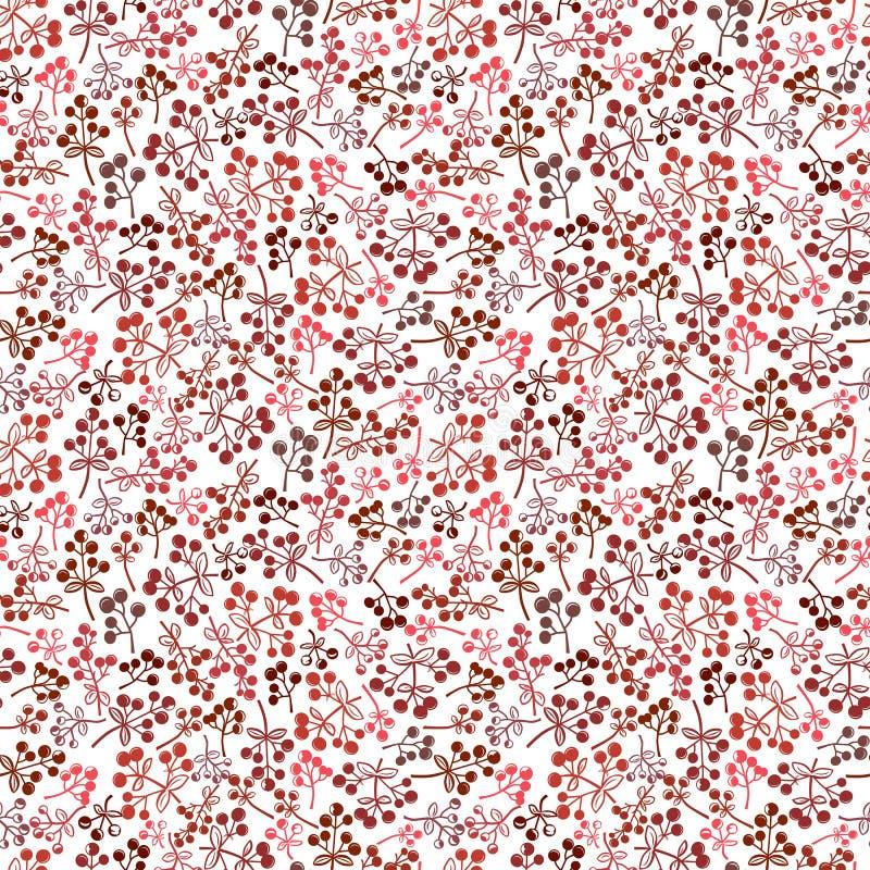 Małych czerwonych jagod bezszwowy tło ilustracja wektor