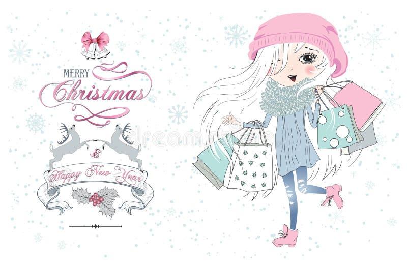 Małych dziewczynek bożych narodzeń sklep royalty ilustracja