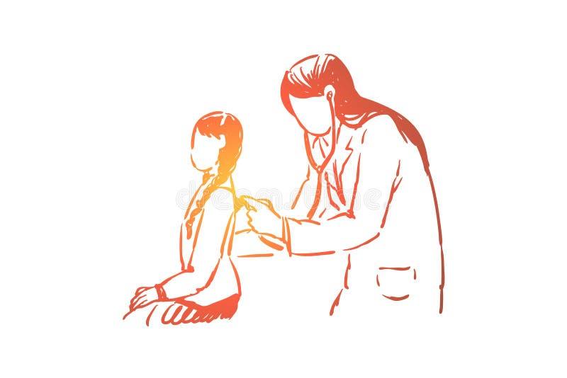 Ma?ych dziewczynek zdrowie checkup, ?e?ski lekarz z stetoskopem, pediatryczna klinika, szpital dzieci?cy ilustracji