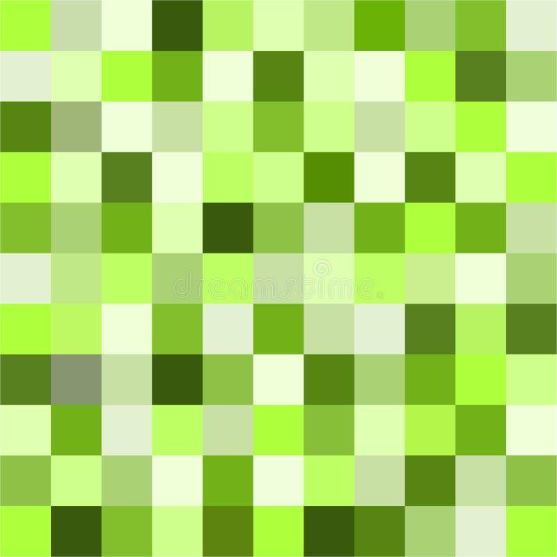Małych kolorowych kwadratów UFO zieleni kwadrata płytek Bezszwowy wzór ilustracja wektor
