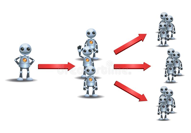 Małych robotów wielo- równy marketing ilustracja wektor