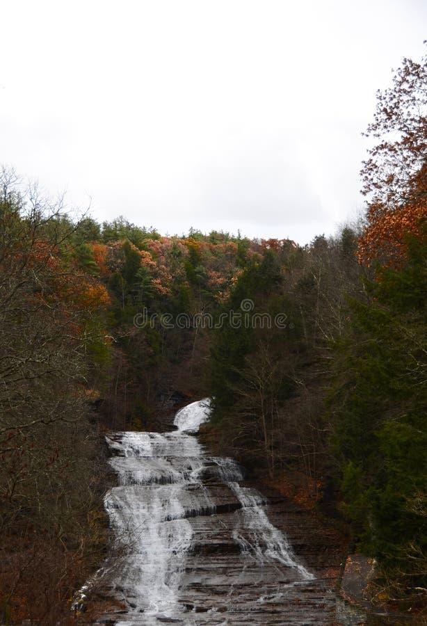 Maślanka Spada, Ithaca NY w opóźnionej jesieni z spadku ulistnieniem obrazy royalty free