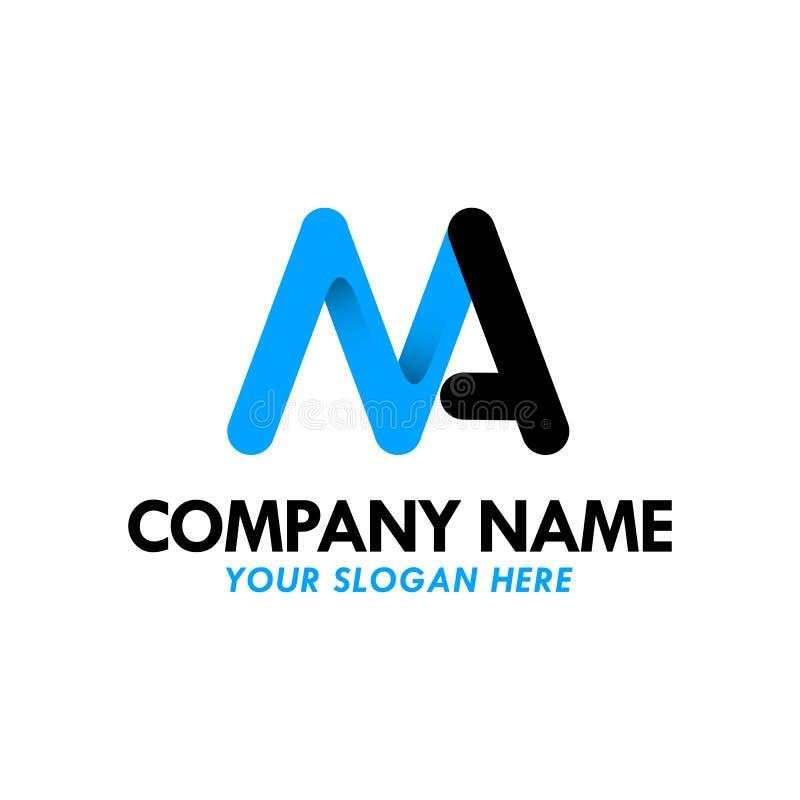 MA, aa, lettera di logo del nero blu di m. illustrazione di stock
