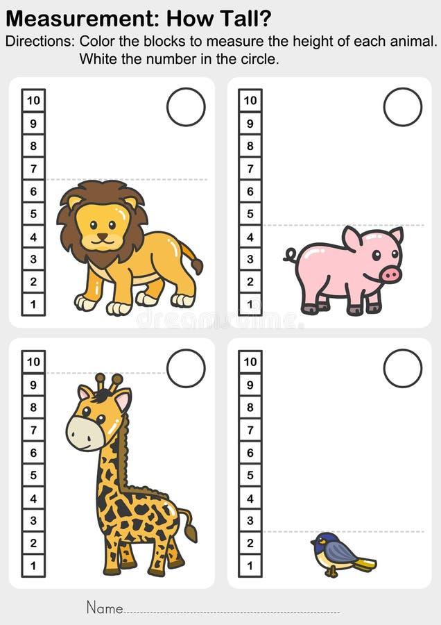 Ma?arbeitsblatt - f?rben Sie die Bl?cke, um die H?he jedes Tieres zu messen Wei? die Zahl im Kreis stock abbildung