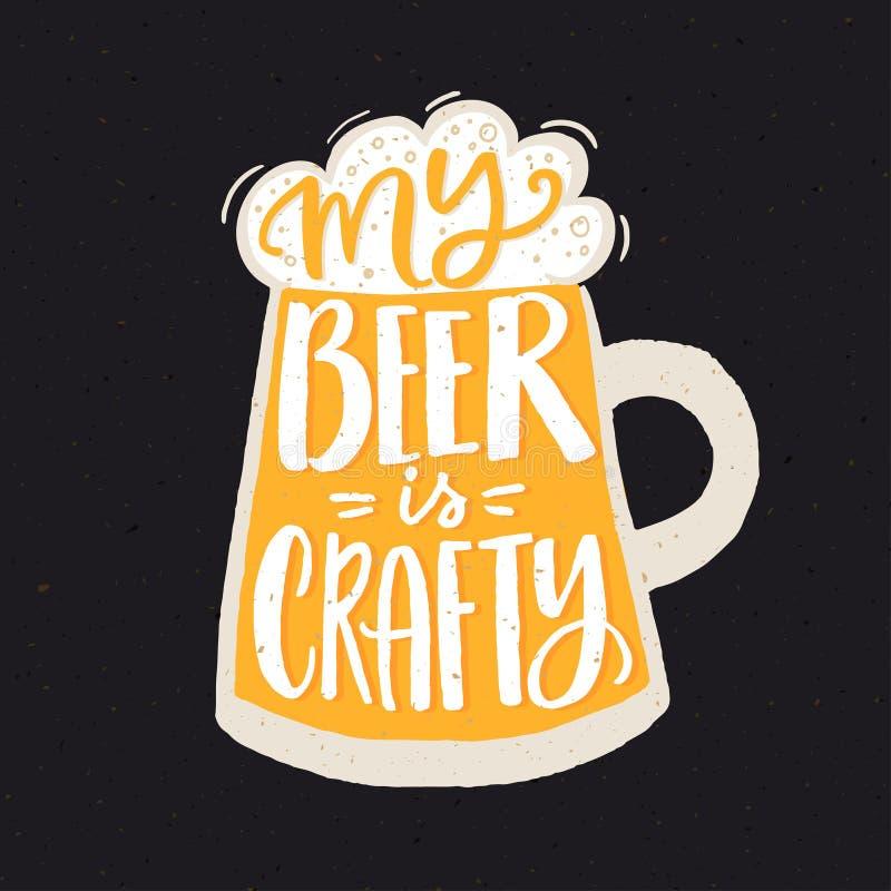 Ma bière est astucieuse Affiche drôle de citation pour la brasserie de bière de métier avec le verre jaune tiré par la main illustration de vecteur