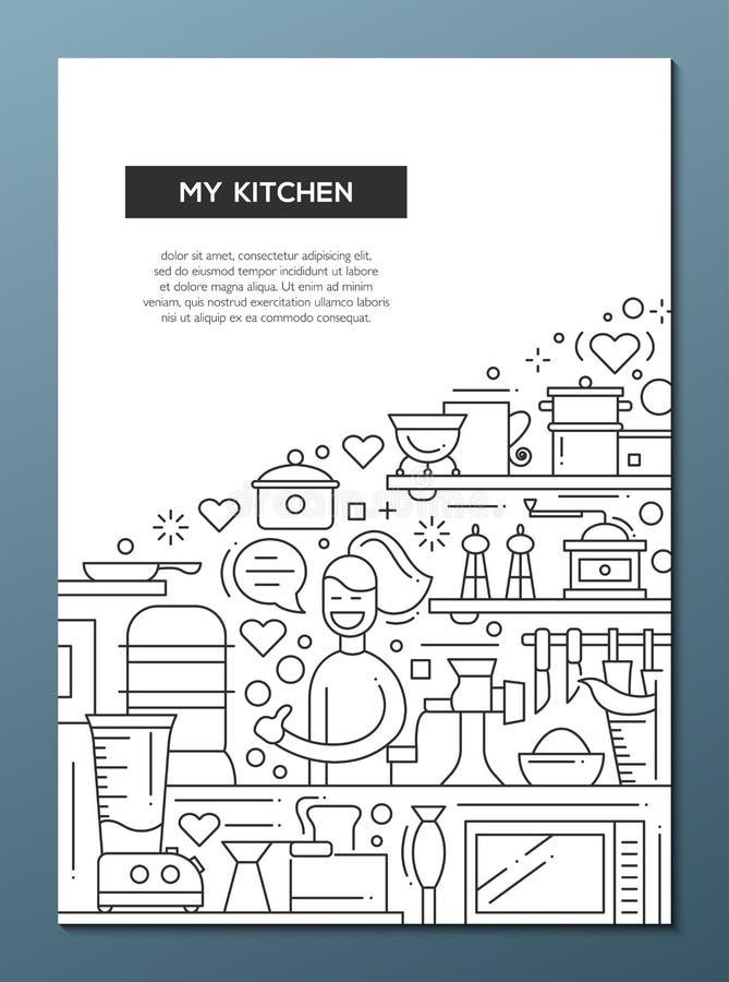 Ma cuisine - rayez le calibre A4 d'affiche de brochure de conception illustration de vecteur