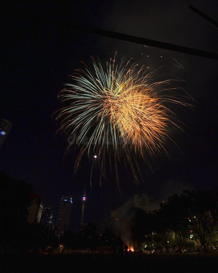 Ma deuxième image de feu d'artifice au-dessus de Kuala Lumpur photo libre de droits
