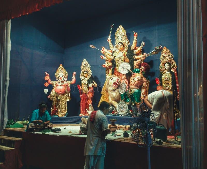 MA Durga ad un mandap fotografia stock libera da diritti