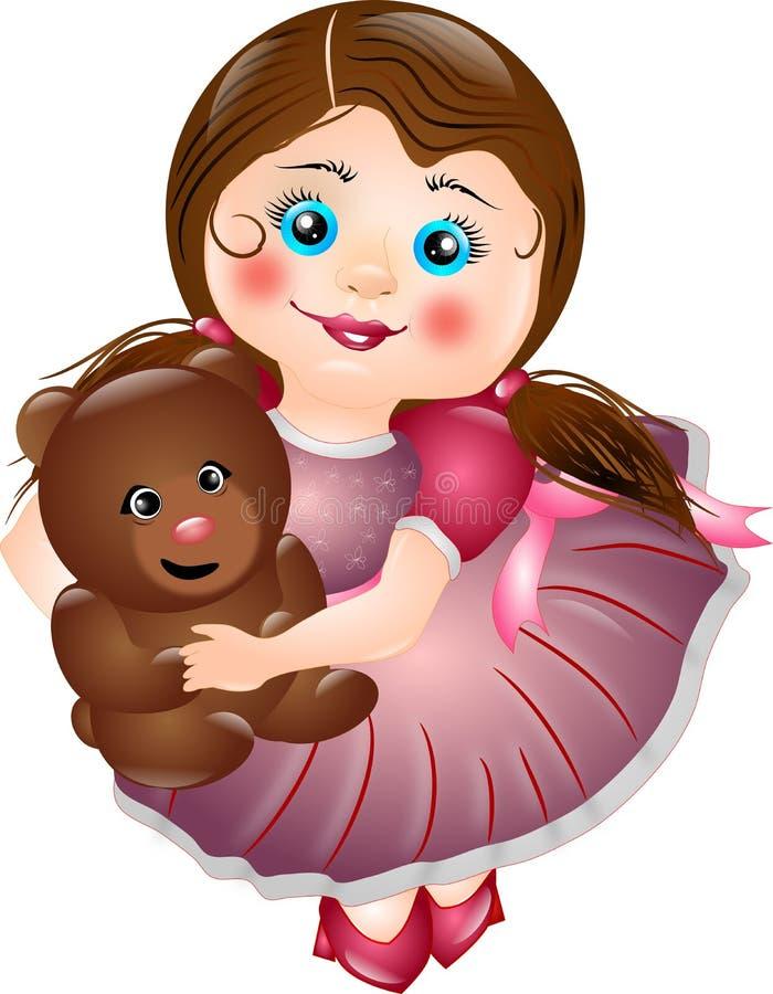 Download Mała Dziewczyna Z Jej Misiem Ilustracji - Ilustracja złożonej z śliczny, hairball: 41955520