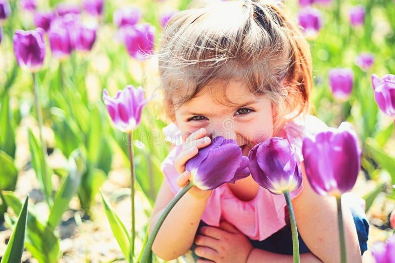Ma?a dziewczynka w pogodnej wio?nie ma?e dziecko naturalne pi?kno Children dzie? Twarzy skincare alergia kwiaty Lato dziewczyna zdjęcia stock