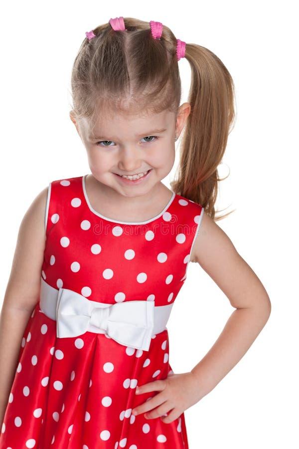Download Mała Dziewczynka W Polki Kropki Czerwieni Sukni Obraz Stock - Obraz złożonej z positivity, pozytyw: 41951367