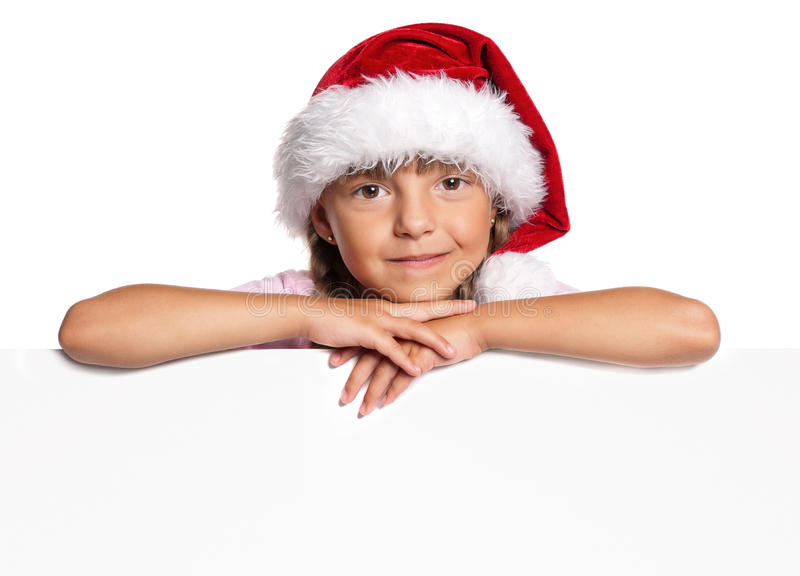 Mała dziewczynka w Santa kapeluszu