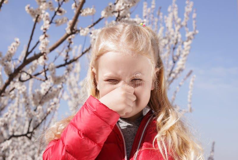 Ma?ej dziewczynki cierpienie od sezonowej alergii zdjęcie royalty free