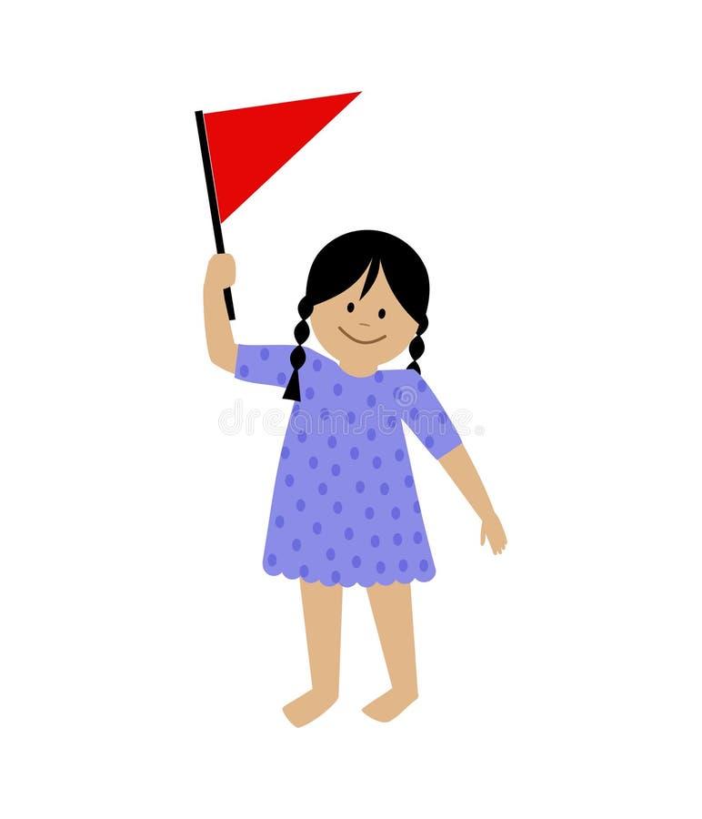 Ma?ej dziewczynki mienia flaga obraz royalty free