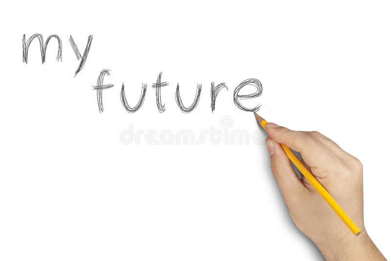 Ma future main de crayon écrivant le blanc photo libre de droits