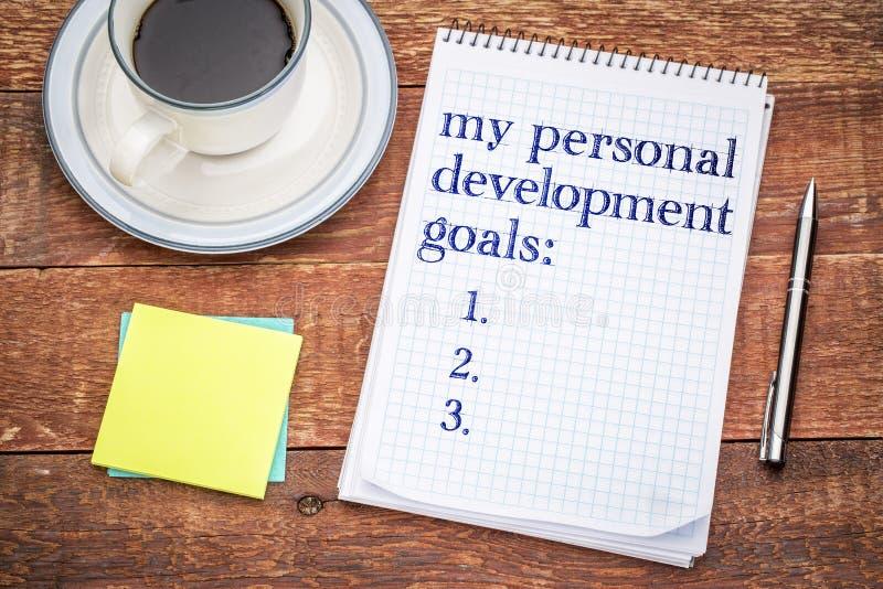 Ma liste personnelle de buts de développement photo stock