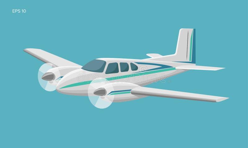 Ma?a p?askiego wektoru ilustracja Bli?niaczy silnik nap?dzaj?cy pasa?erski samolot royalty ilustracja