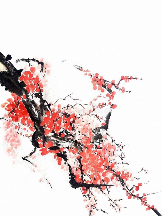 Ma peinture chinoise ou japonaise de fleurs de cerisier de fonr de mine avec l'encre et d'aquarelle sur le papier de riz traditio photos stock