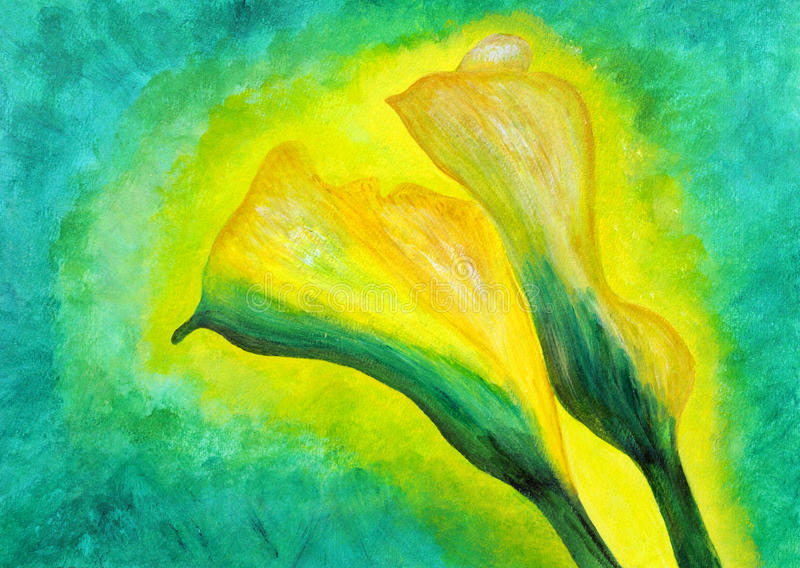 Ma peinture initiale : Beau lis de callas jaune illustration libre de droits