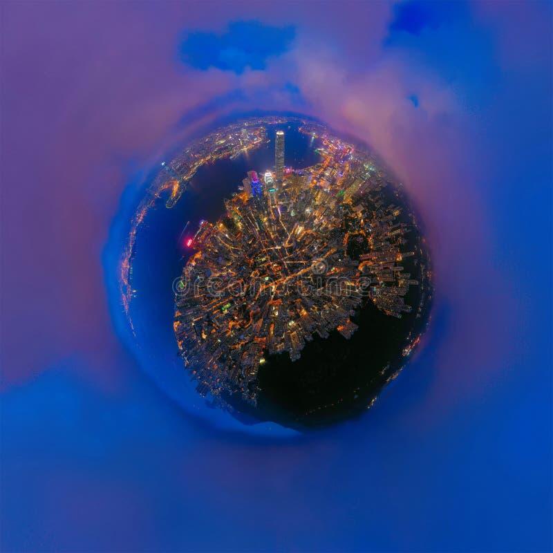 Ma?a planeta 360 stopie? sfery ptak?w oka widok Panoramiczny widok widok z lotu ptaka Hong Kong śródmieście Pieni??ny okr?g i zdjęcia stock