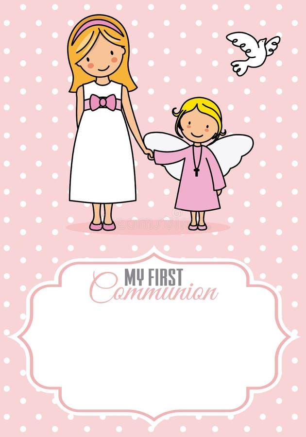 Ma première communion Fille et ange illustration stock