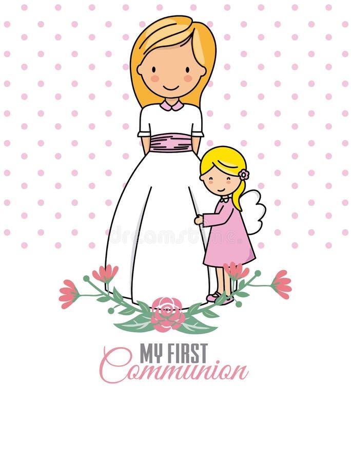 Ma première communion Fille et ange illustration de vecteur