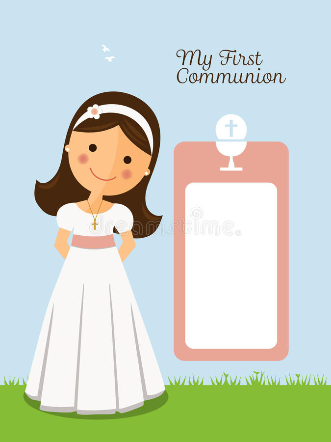 Ma première invitation de communion avec le message illustration libre de droits
