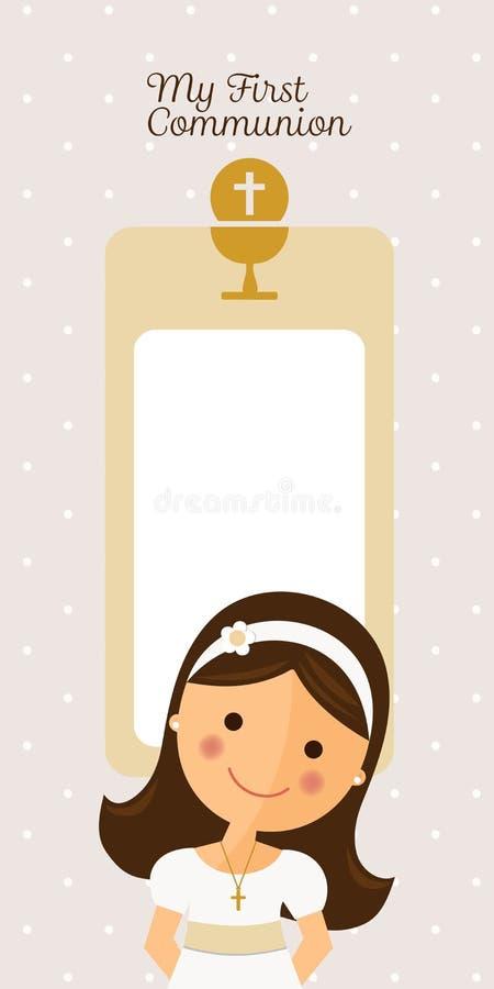 Ma première invitation de verticale de communion illustration stock