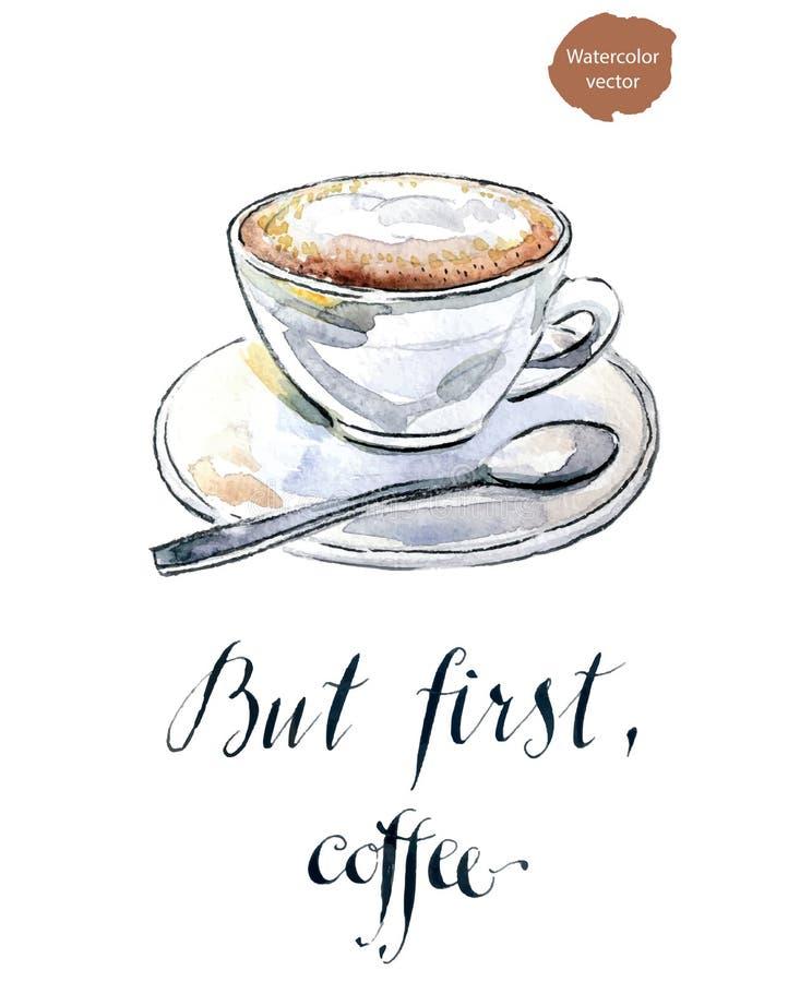Ma in primo luogo, caffè illustrazione di stock