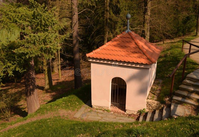 Download Mała Pusta Kaplica W Drewnach Obraz Stock - Obraz złożonej z architektury, kontemplacja: 53784629